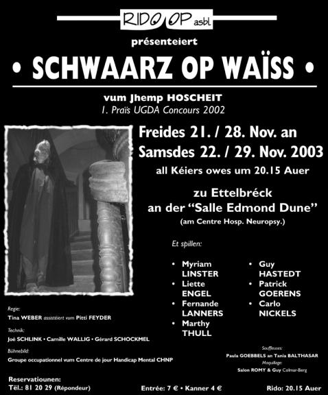 Plakat Schwarz op Wäiss